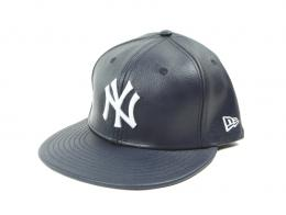 NEWERA(ニューエラ)/MLB NY YANKEES Lether CAP [NAVY/WHITE]