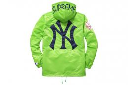 Supreme(シュプリーム)×'47 BRAND/NEW YORK YANKEES SATIN HOODED COACHES JKT[GREEN]