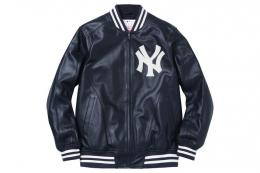 Supreme(シュプリーム)×'47 BRAND/NEW YORK YANKEES LEATHER VARSITY JACKET[NAVY]レザージ